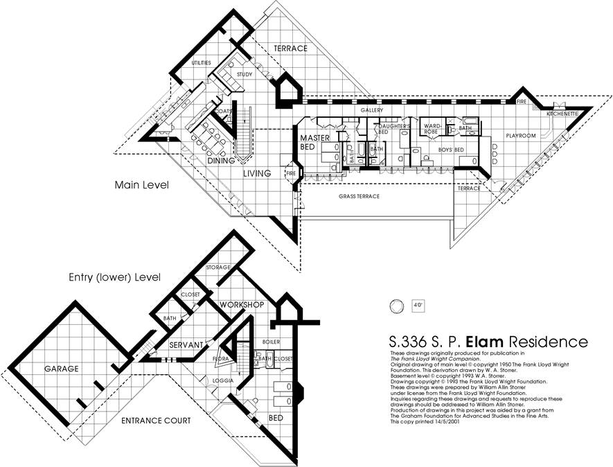 Floor plan the elam house Frank lloyd wright house floor plans